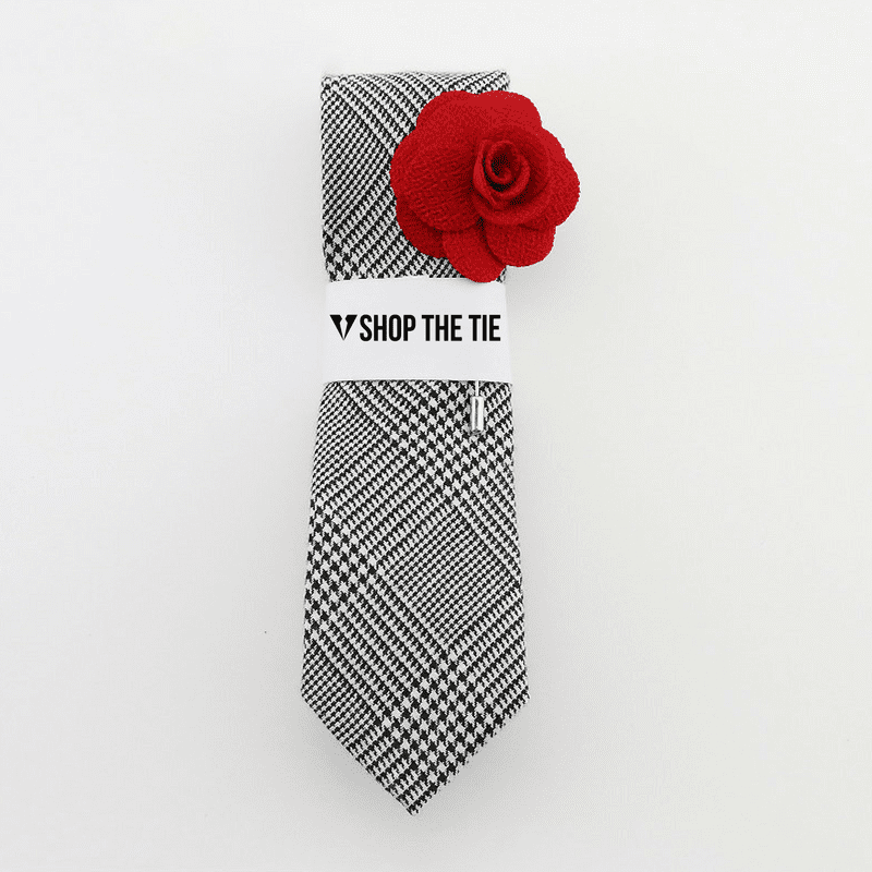 SLIM TIE | GREY PLAID | COTTON