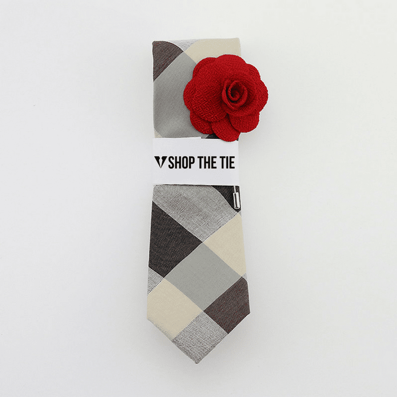 SLIM TIE | GREY WHITE PLAID | COTTON