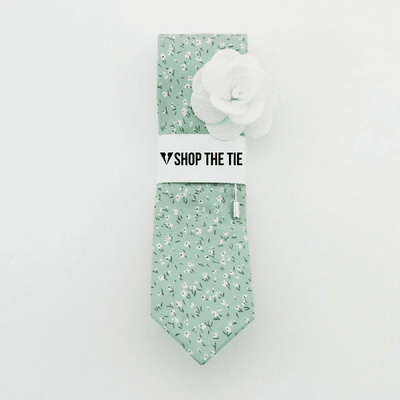 SLIM TIE | LIGHT GREEN FLORAL | COTTON