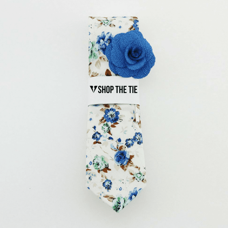 SLIM TIE | WHITE BLUE  FLORAL | COTTON