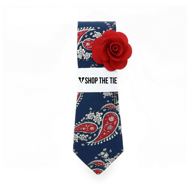 SLIM TIE | BLUE RED PAISLEY | COTTON