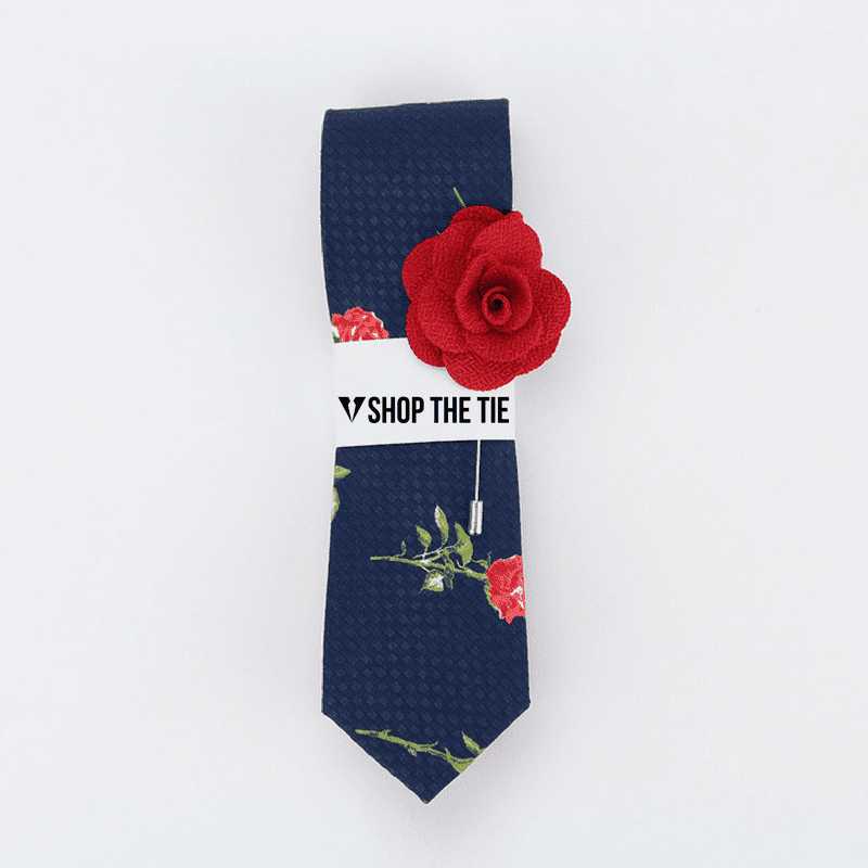 SLIM TIE | BLUE RED FLORAL  | COTTON
