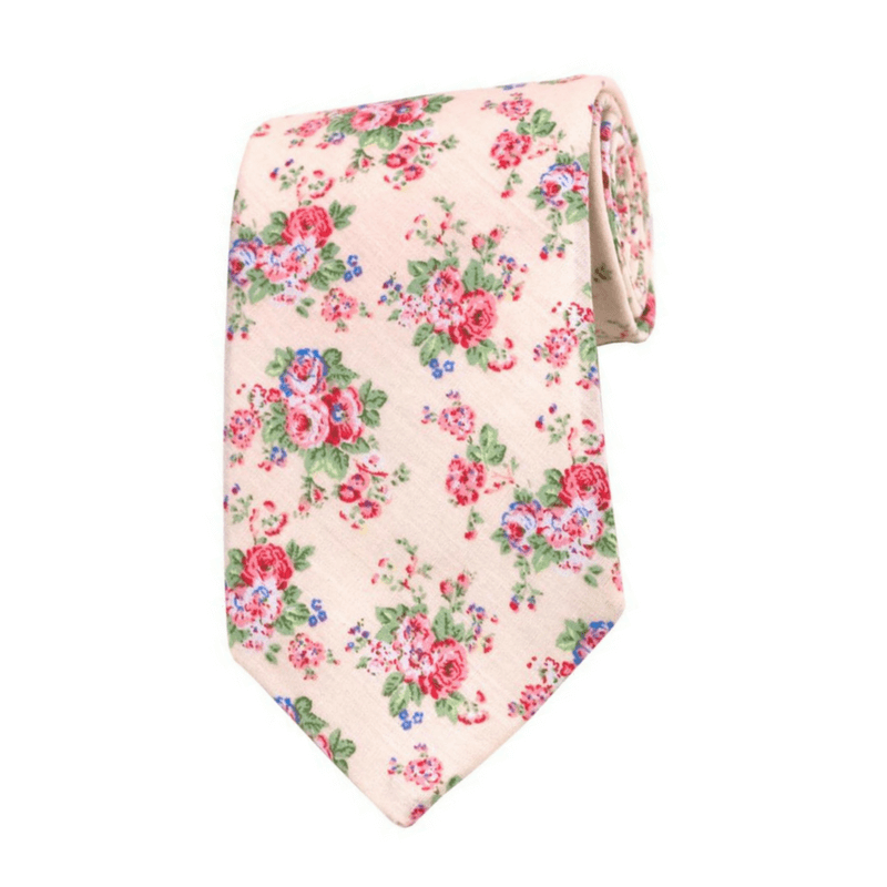 TIE | RED GREEN FLORAL | COTTON