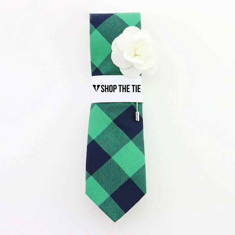 SLIM TIE | GREEN BLUE PLAID | COTTON