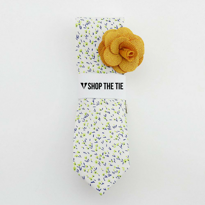 SLIM TIE | WHITE GREEN FLORAL | COTTON