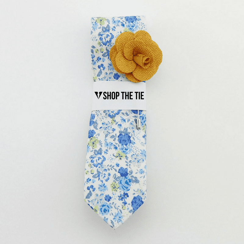 SLIM TIE | WHITE BLUE GREEN FLORAL | COTTON