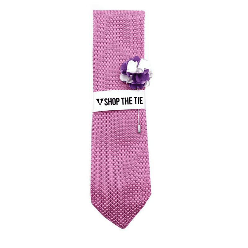 SLIM TIE | LIGHT PINK KNITTED | COTTON