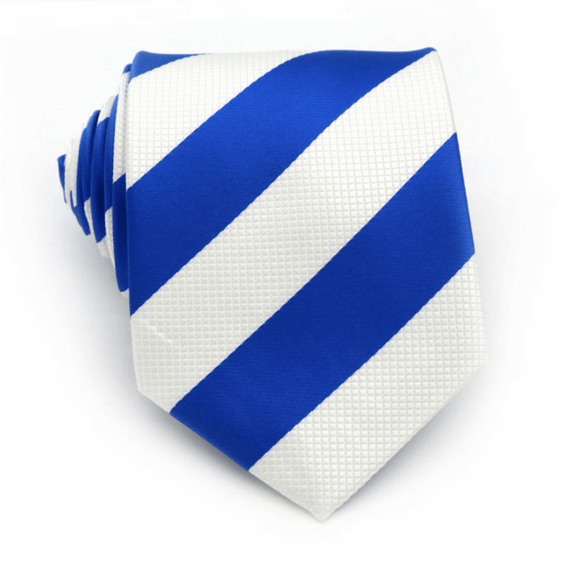 TIE | WHITE BLUE STRIPES | SATIN