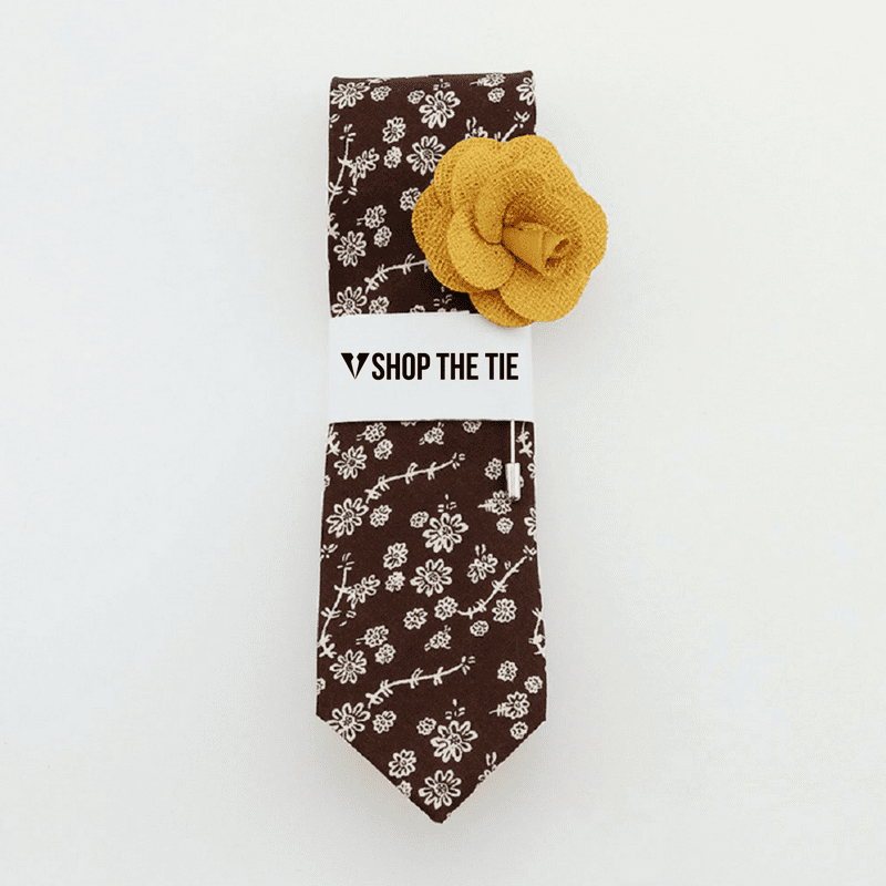 SLIM TIE | BROWN WHITE FLORAL | COTTON