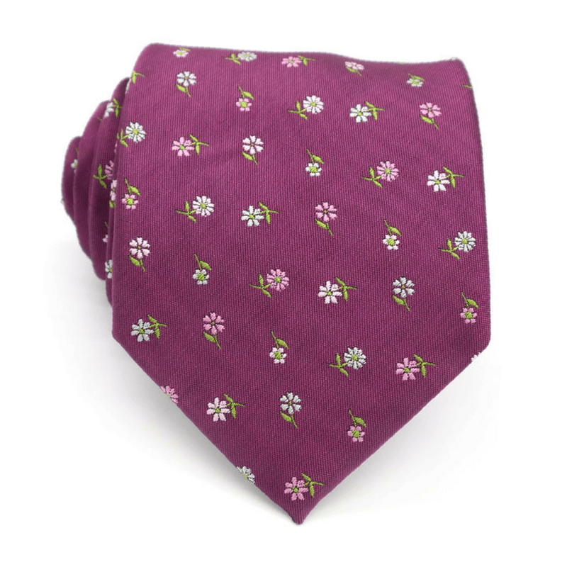 TIE | PURPLE GREEN FLORAL | SATIN