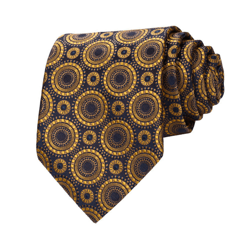 TIE & POCKET SQUARE | GOLD GEOMETRIC | SILK