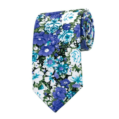 TIE | BLUE WHITE GREEN FLORAL | COTTON