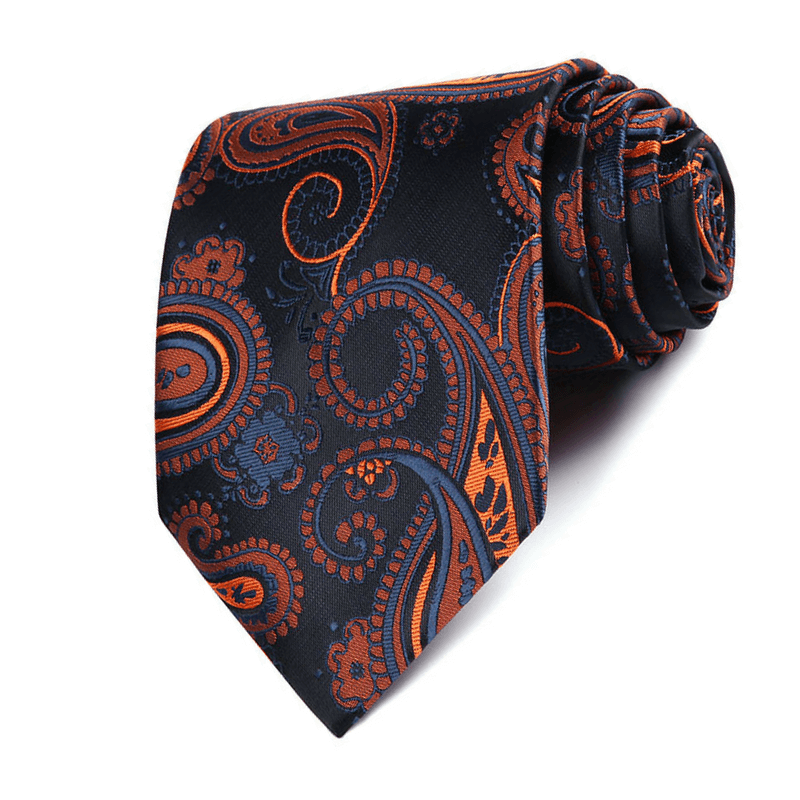 TIE & POCKET SQUARE | ORANGE DARK BLUE PAISLEY | SILK