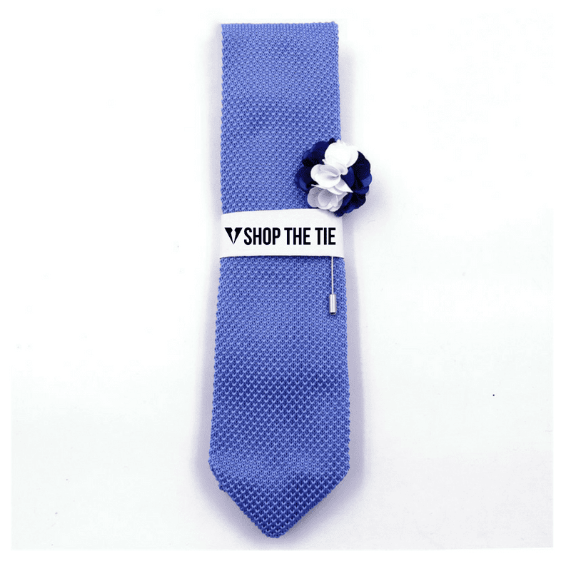 SLIM TIE | LIGHT BLUE KNITTED | COTTON