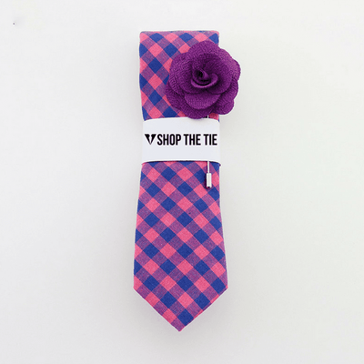 SLIM TIE | PINK BLUE PLAID | COTTON