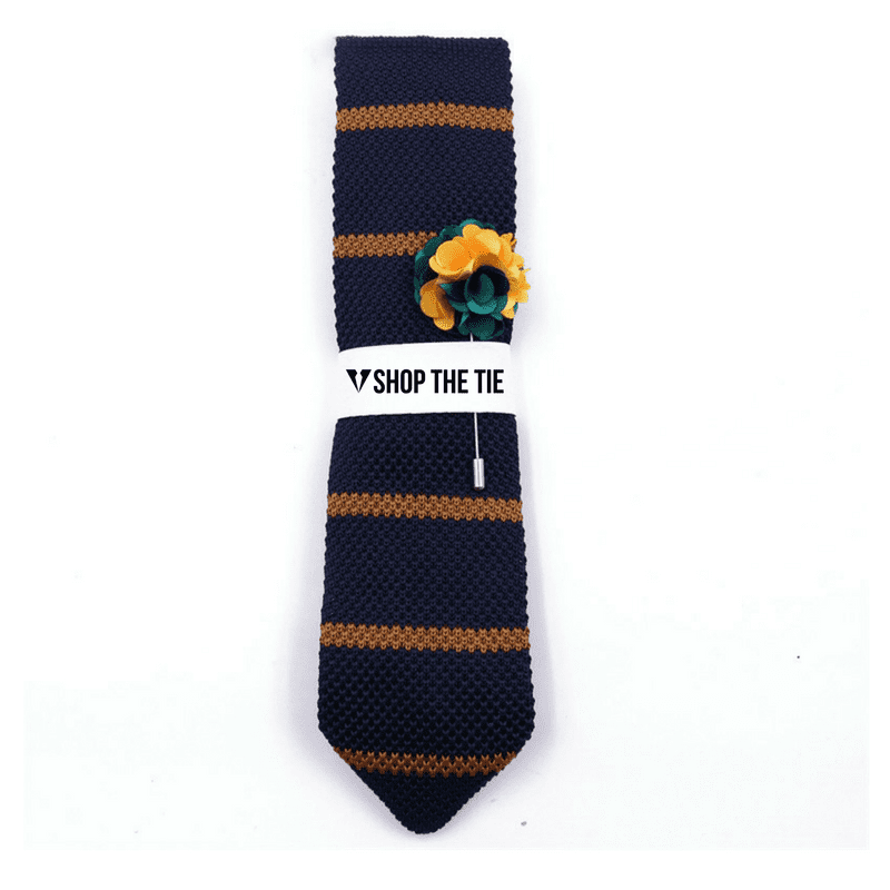 SLIM TIE | DARK BLUE YELLOW STRIPES | COTTON