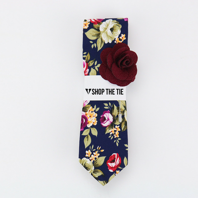 SLIM TIE | BLUE RED PRINT FLORAL | COTTON