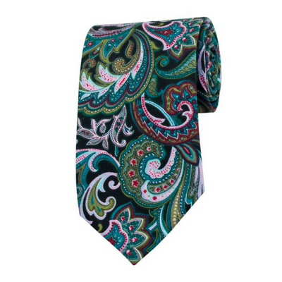 TIE | GREEN BLACK FLORAL | COTTON