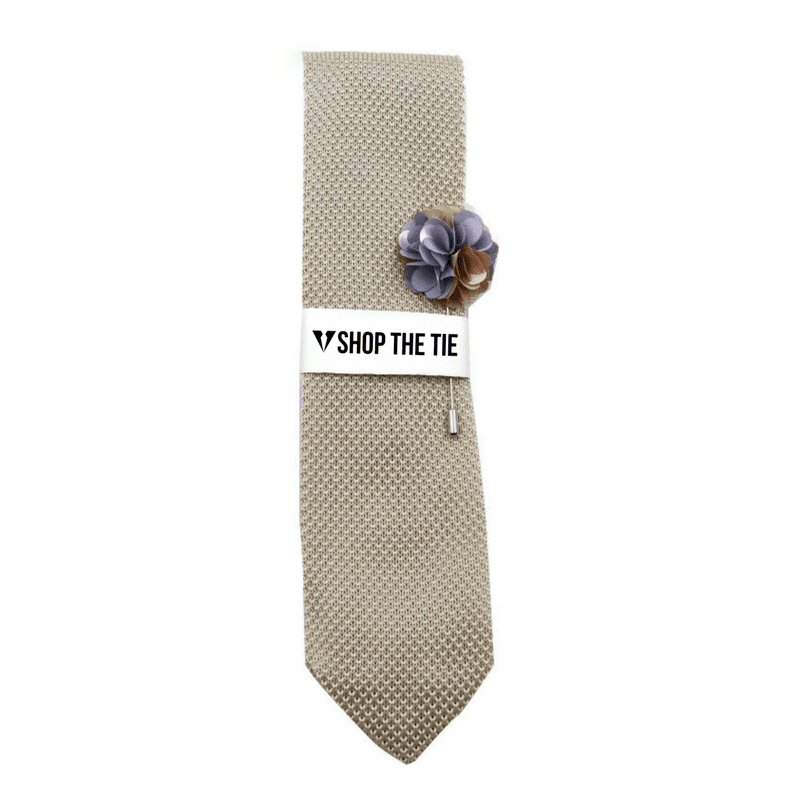 SLIM TIE | LIGHT CHAMPAGNE KNITTED | COTTON