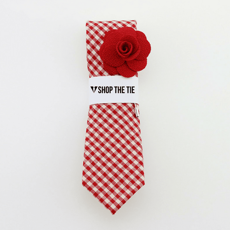 SLIM TIE | RED PLAID | COTTON