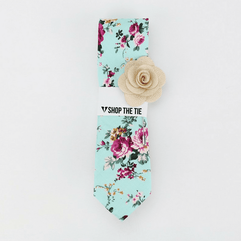 SLIM TIE | LIGHT BLUE BROWN FLORAL | COTTON
