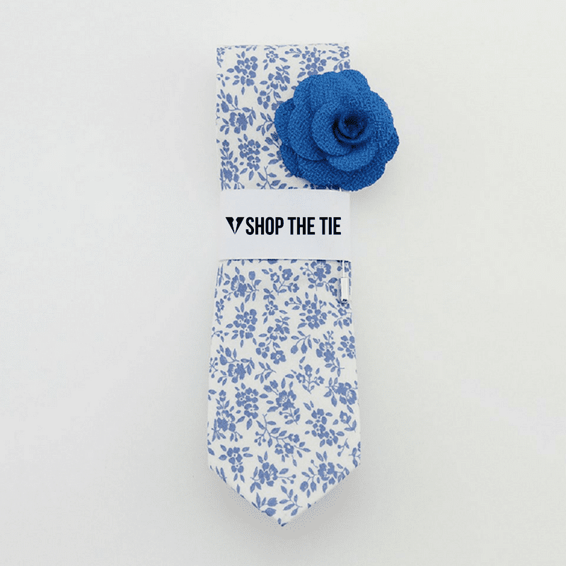 SLIM TIE | BLUE FLORAL | COTTON