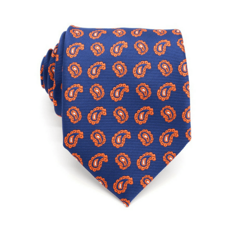 TIE | BLUE ORANGE WHITE PAISLEY | SILK