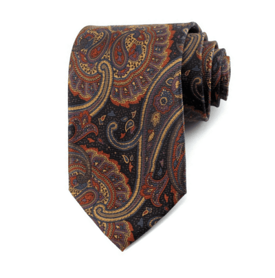 LUXURY TIE | BROWN PRINT PAISLEY | SILK