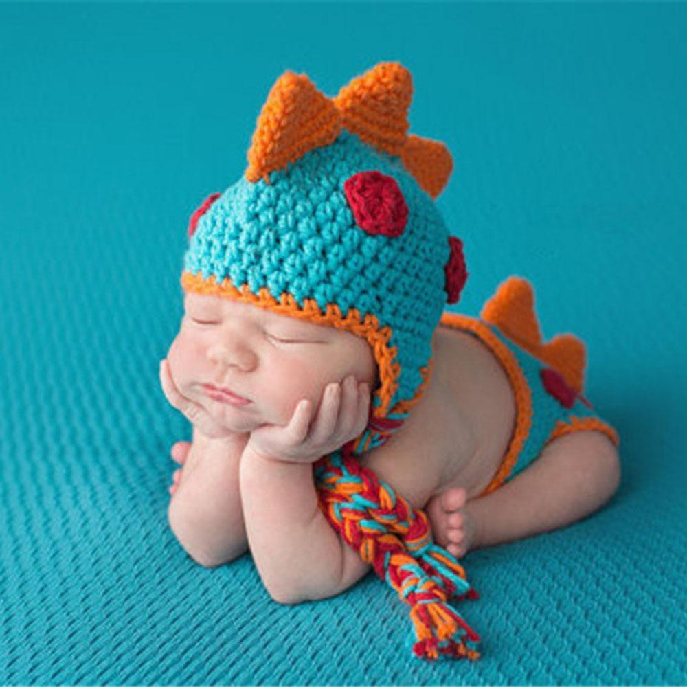 Crocheted Baby Boy Dinosaur Outfit Baby Snap Prop
