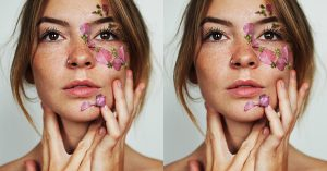 Tailor Babe with flowers on face.