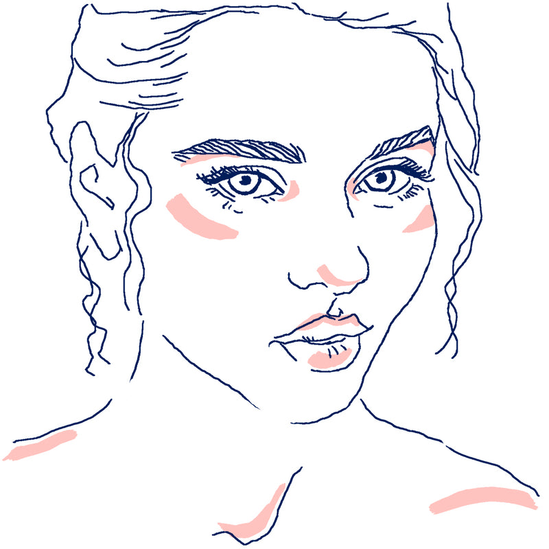 Illustrated face highlighting guide for natural makeup look.