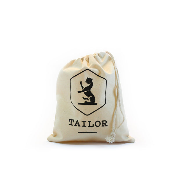 Organic cotton tote bag for holding cosmetic skincare products.