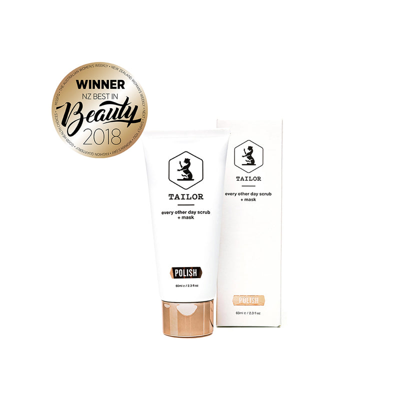 Polish [detox mask, best exfoliating face wash and blemish treatment] pictured with 2018 Best in Beauty Award for best natural face product.