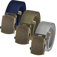 Adjustable Cut to Fit Men's Casual Golf Belt Packs Antique Gold Brass Slider Buckle with Durable Canvas Web Belt