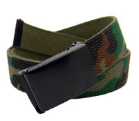 Classic Silver Men's Military Slider Buckle with Canvas Web Belt