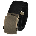 Adjustable Cut to Fit Men's Golf Belt with Brass Flip Top Buckle and Durable Canvas Web Belt