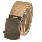 Adjustable Cut to Fit Men's Casual Golf Belt Antique Gold Brass Slider Buckle with Durable Canvas Web Belt