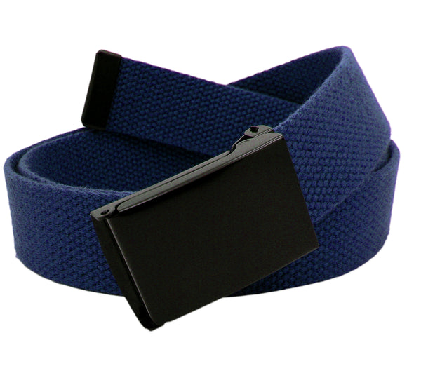 Men's Black Flip Top Military Belt Buckle with Canvas Web Belt