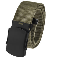 Cut to Fit Men's Canvas Web Golf Belt with 1.5 Black Slider Belt Buckle