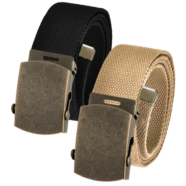 Adjustable Cut to Fit Men's Golf Belt Pack Canvas with Gold Brass Slider Buckle
