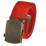 Adjustable Men's Cut to Fit Golf Belt Casual Outdoor Canvas with Black Military Flip Top Buckle