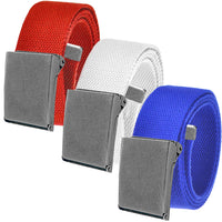 Cut to Fit Men's Casual Golf Belt Packs Antique Silver Flip Top Buckle