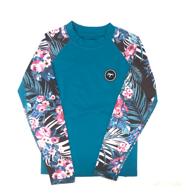 Teal Kids Performance rash-guard girls