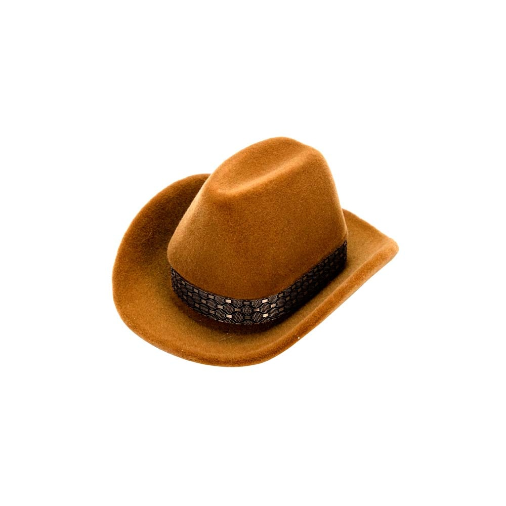 1 Pc Fashion Creative Cowboy Hat Shape Rings Box Velvet