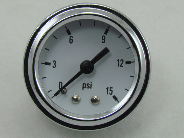 1600 SERIES FUEL PRESSURE GAUGE 1-1/2' FACE 0-15 psi, 1/8npt - CHROME