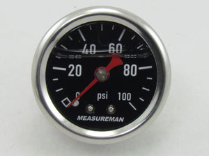 1600 SERIES FUEL PRESSURE GAUGE 1-1/2' FACE 0-100 psi, 1/8npt - CHROME