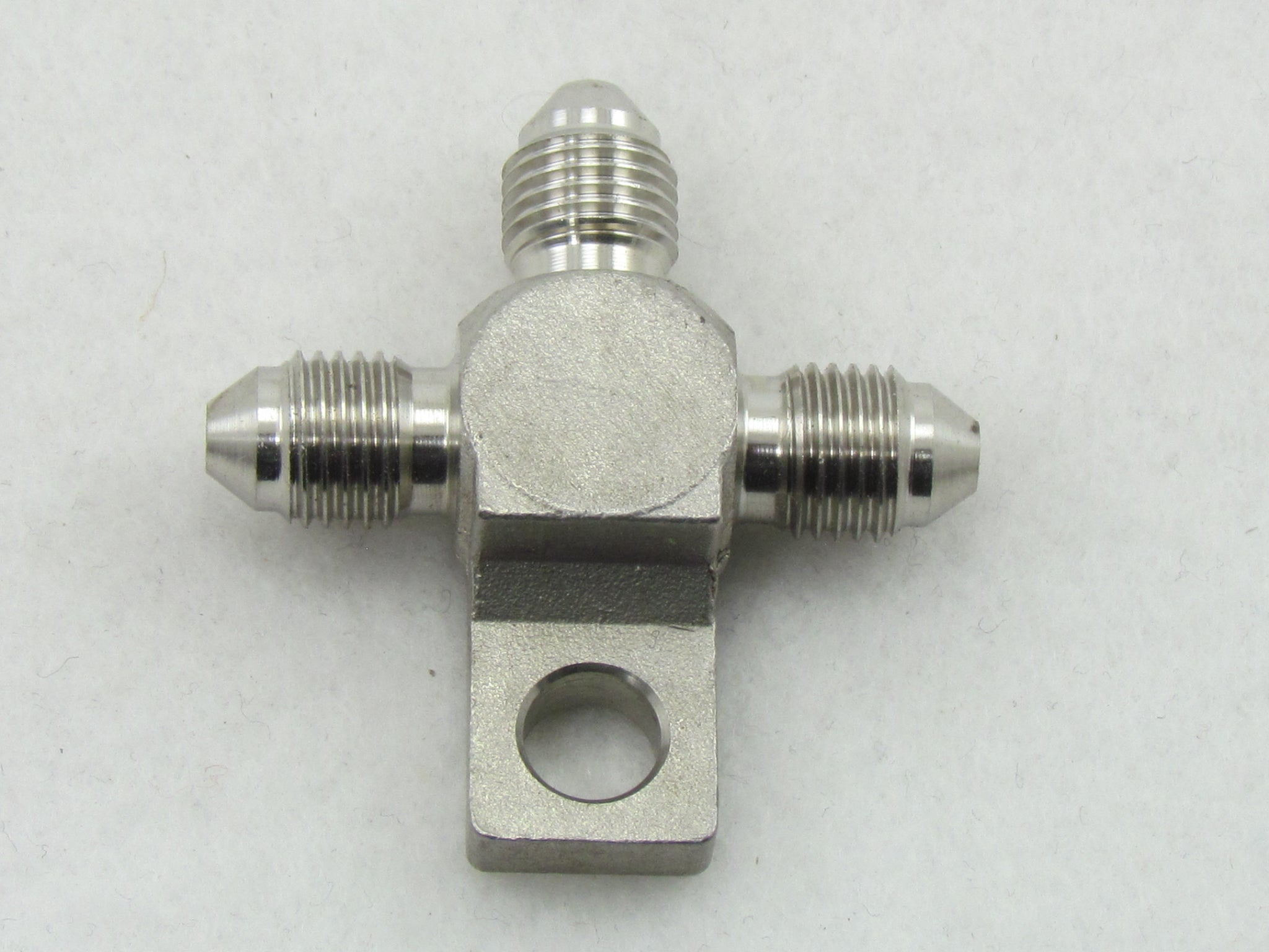702 SERIES STAINLESS STEEL 3AN MALE FLARE TEE BLOCK with TAB