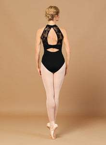 BLOCH Aero Ladies Floral Mesh Open Back Halterneck Leotard