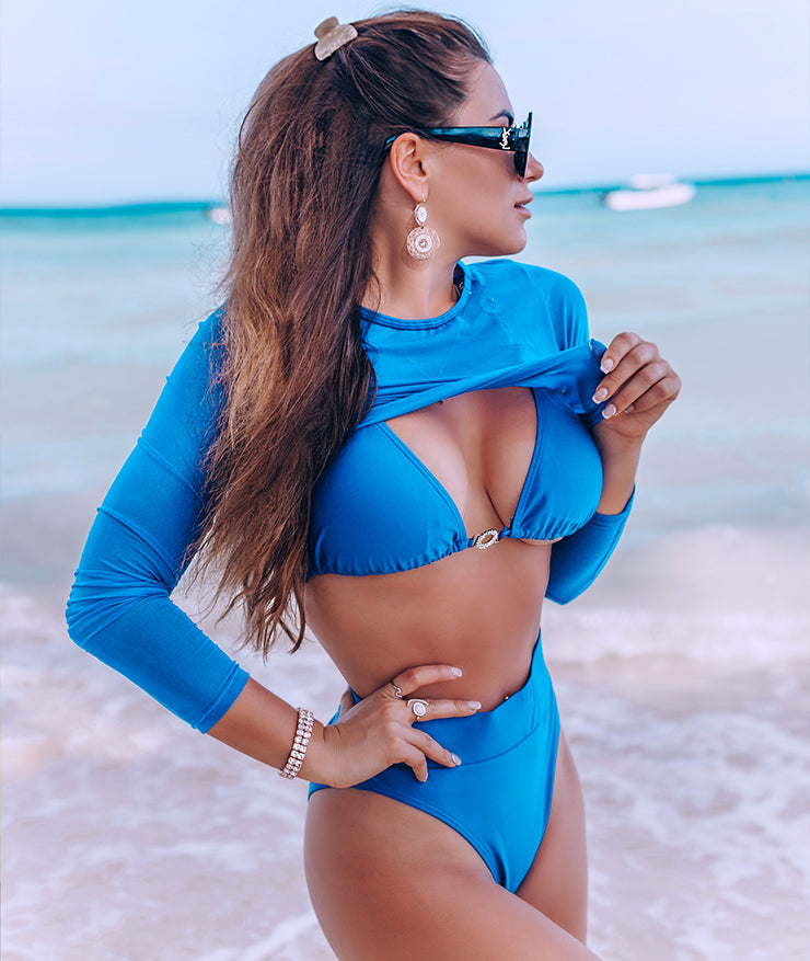 Royal Blue Connector Three Piece Bikini Top