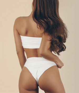 White High Waisted Bandeau Bikini Top